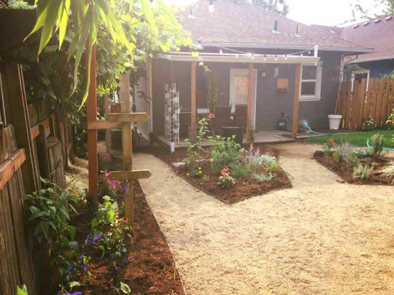Aromatic garden and patio space.