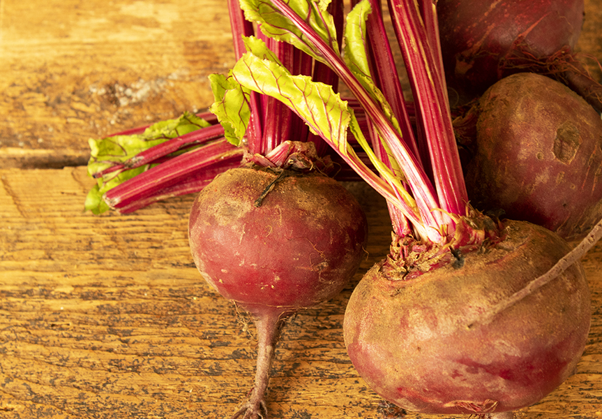 beets on a rustic board