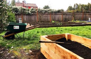 pdxfarm newly built raised bed in client's yard